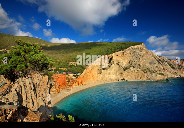 World famous Porto Katsiki beach ('off season'), Lefkada (or 'Lefkas') island, Ionian Sea, Eptanisa - Stock-Bilder