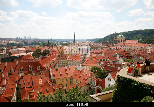 View from the Southern Gardens Hradcany the castle district Prague Czech Republic - Stock Image