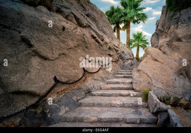 Stone step pathway at Silver Rock Golf Resort. La Quinta, California - Stock Image