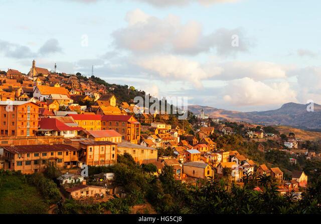 Fianarantsoa Haute Ville in the afternoon, central area, Madagascar - Stock Image