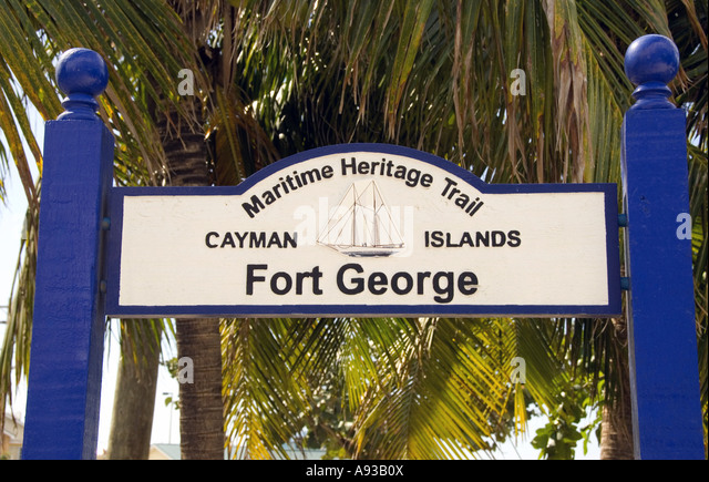 George Town Grand Cayman Fort George marker sign - Stock Image