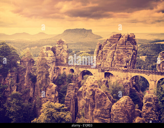Retro toned Bastei bridge in Saxon Switzerland, Germany. - Stock Image
