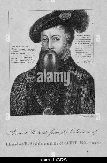 Edward Seymour Somerset, Lord Protector of England, 1550. From the New York Public Library. - Stock Image