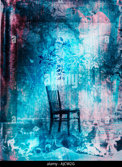 photo illustration of a chair alone in a room - Stock Image