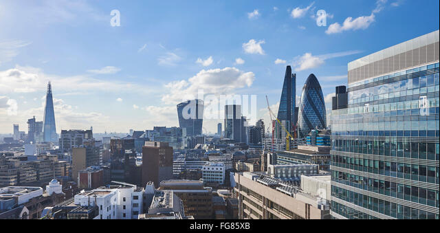 City of London Skyline from Aldgate, UK - Stock Image