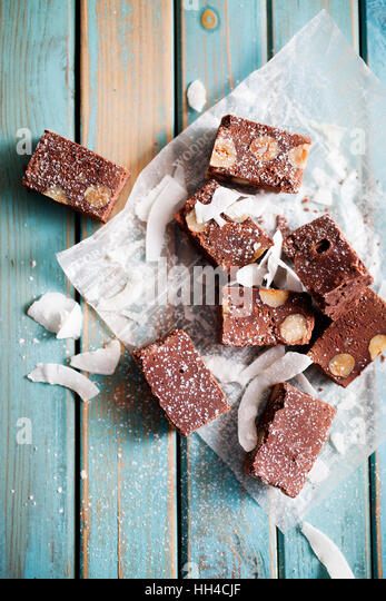 Chocolate fudge with nuts and coconut - Stock Image
