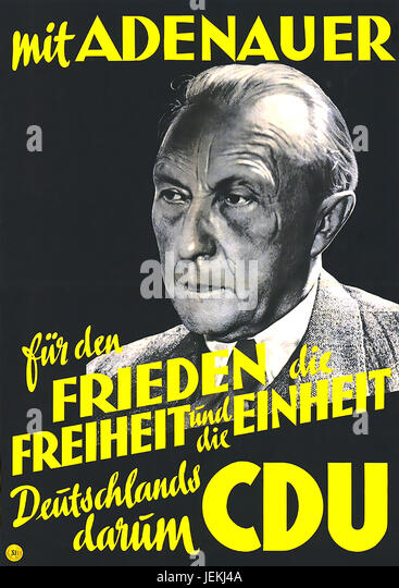 KONRAD ADENAUER (1876-1967)  German politician on a 1949 election poster. 'With Adenauer for Germany's Peace, - Stock-Bilder