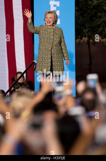 Las Vegas, Nevada, USA. 12th Oct, 2016. HILLARY CLINTON campaigns at a Democratic Party Rally at the Smith Center - Stock Image