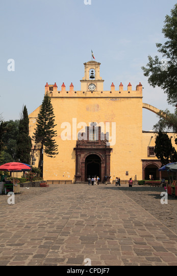 San Bernardino Church, Xochimilco, UNESCO World Heritage Site, Mexico City, Mexico, North America - Stock Image