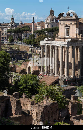 Temple of Antoninus and Faustina in the Roman Forum in Rome, Italy. Adapted as a Roman Catholic church, the Chiesa - Stock Image