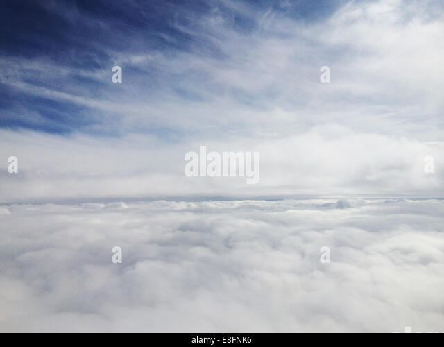 Cumulus clouds from above - Stock Image