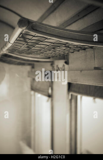 Empty shelf in old retro railway carriage. Vintage transportation. - Stock-Bilder