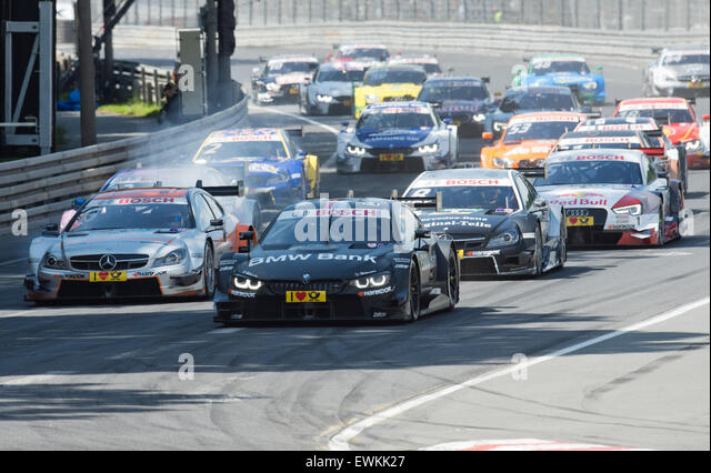 Nuremberg, Germany. 28th June, 2015. Robert Wickens (Mercedes-AMG, L) and Bruno Spengler (BMW, C) lead the race - Stock Image