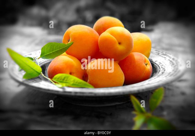Fresh whole apricots - Stock Image