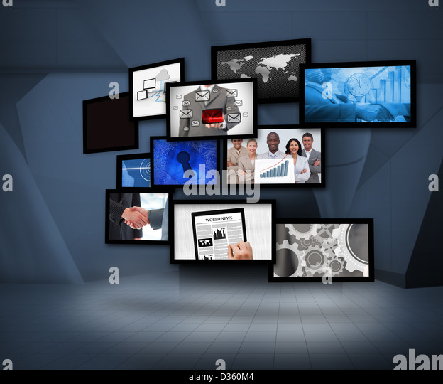 Many screens showing business images - Stock Image