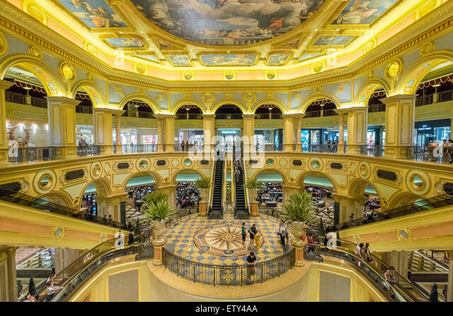 Ornate interior of The Venetian Macao casino and hotel in Macau China - Stock Image