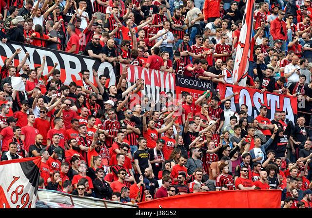AC Milan Soccer fans at the san siro stadium, in Milan, Italy. - Stock Image