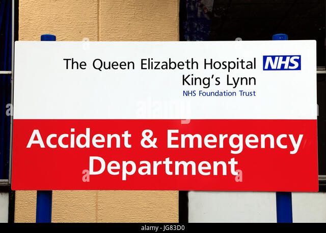 Queen Elizabeth Hospital, Kings Lynn,  Accident & Emergency Department, sign, English, NHS Hospitals Norfolk, - Stock Image