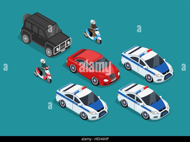 Isometric police motorcade car flat design. 3D police guard, motorcade escort, policeman on motorcycle, 3d cortege - Stock-Bilder
