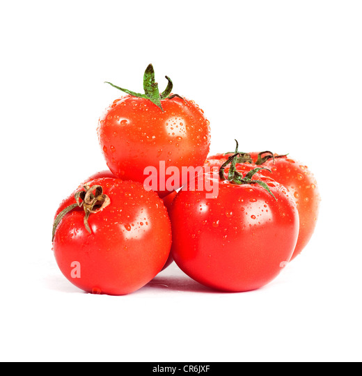 Fresh organic red tomatoes arranged over a white background - Stock Image