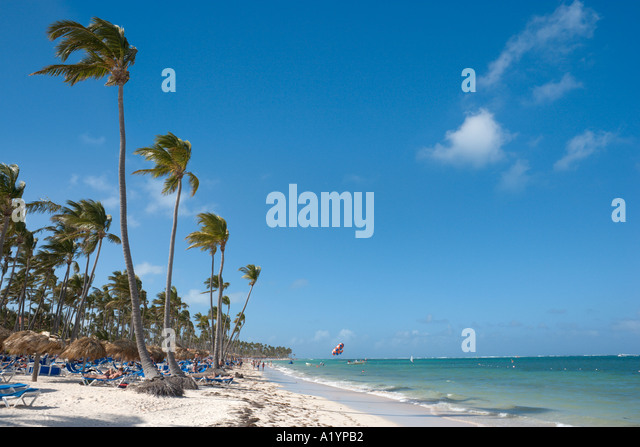 Bavaro Beachat eastern end near Punta Cana, Bavaro, Punta Cana, Dominican Republic - Stock Image