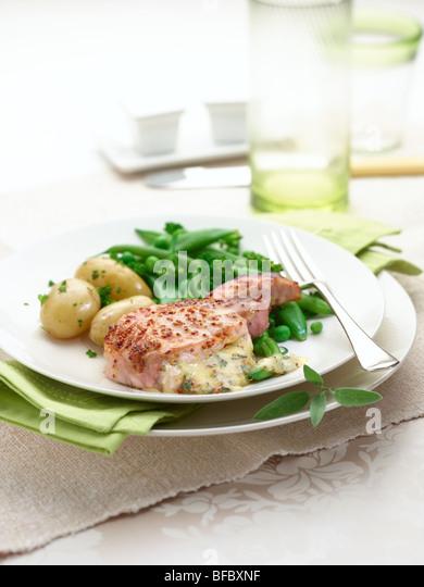 pork chop with honey mustard sauce - Stock Image