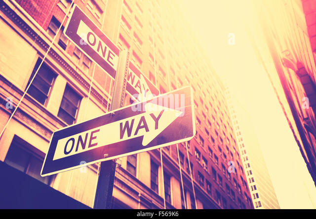 Vintage style photo of the one way signs in Manhattan, New York, USA. - Stock Image
