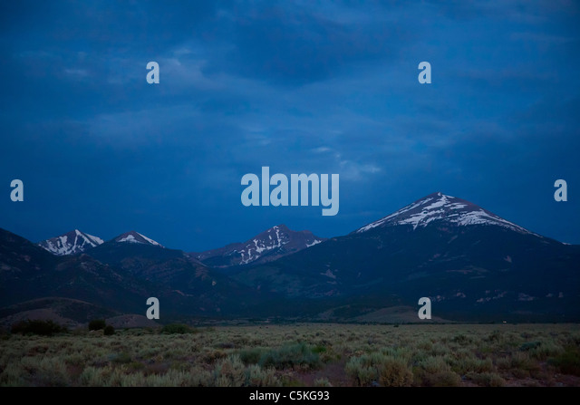 Baker, Nevada - Great Basin National Park before dawn. Wheeler Peak is in the center; Jeff Davis Peak is at right. - Stock Image