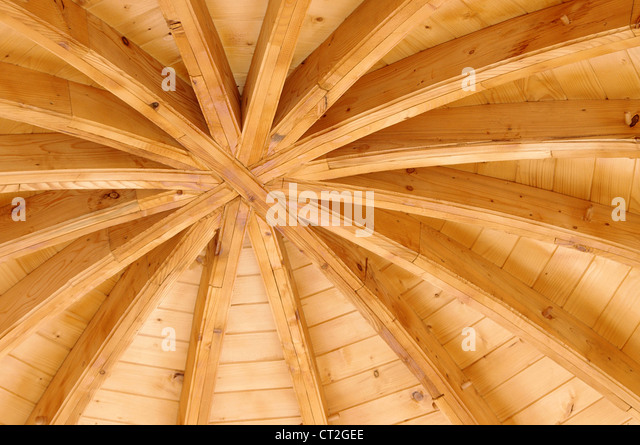 wooden ceiling of a traditional church in Moldavia, Romania - Stock-Bilder
