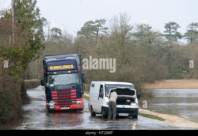 Van stranded in floods at Beaulieu 2008. Artist: Unknown. - Stock Image