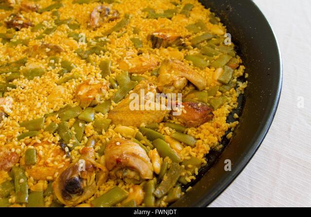 Paella dish from Valencia Spain - Stock Image