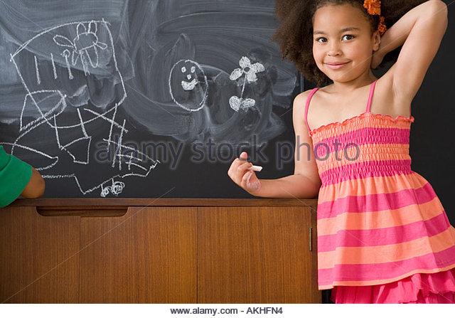 Girl with chalk drawings - Stock-Bilder