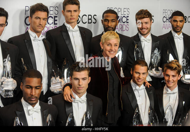 Los Angeles, USA. 18th Jan, 2017. Ellen DeGeneres (C), winner of Favorite Daytime TV Host, Favorite Animated Movie - Stock-Bilder