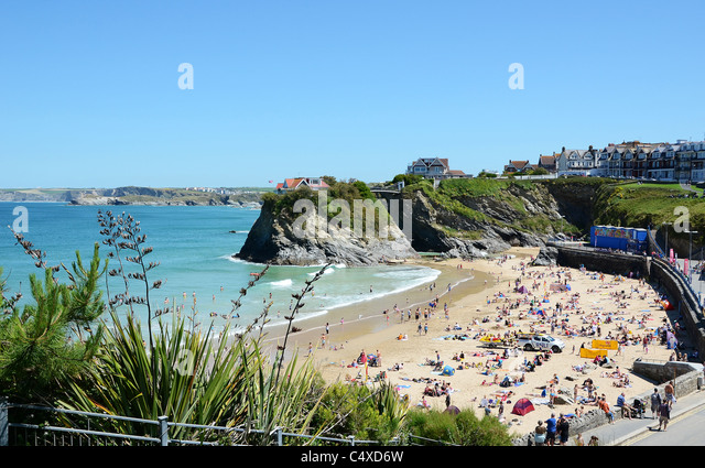 A summers day at Towan beach in Newquay, Cornwall, UK - Stock Image