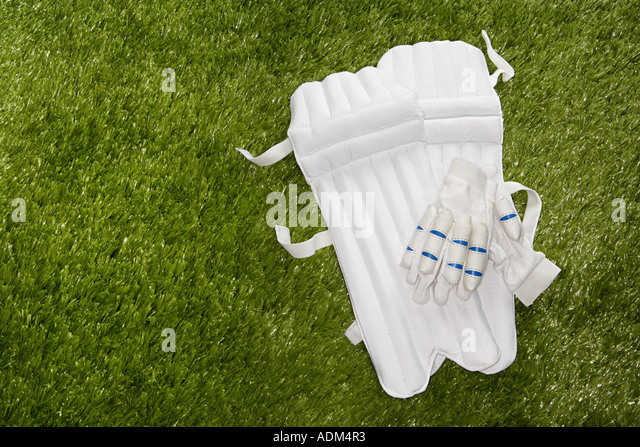 Cricket gloves and shin pads - Stock Image