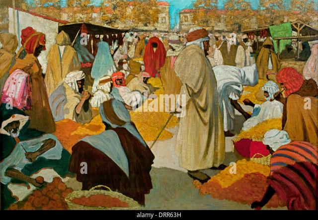 Henri Evenepoel (1872–1899)  Orange Market at Blidah 1898 Arab Market Algeria Flemish Belgian Belgium - Stock Image
