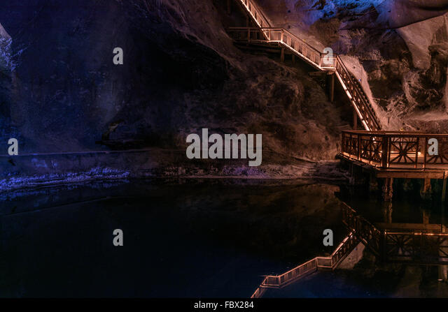 Lake in the salt mine of Wieliczka, Poland. - Stock Image