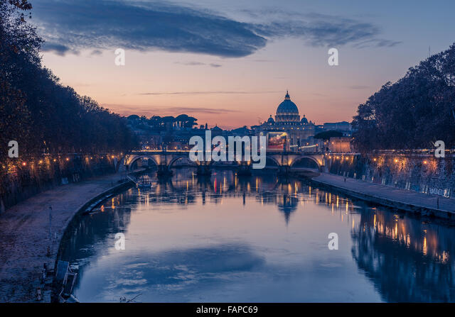 Rome, Italy: St. Peter's Basilica and Saint Angelo Bridge - Stock Image