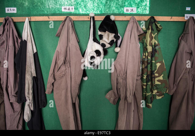 Panda costumes that are worn by caretakers hang inside the employee room at the Wolong Nature Reserve managed by - Stock Image