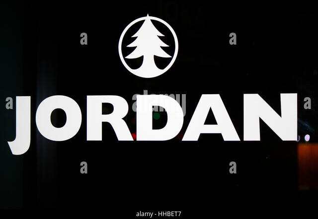 das Logo der Marke 'Jordan', Berlin. - Stock Image