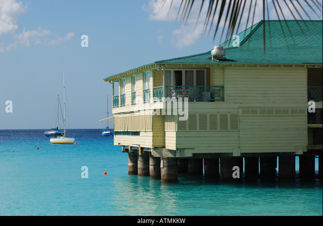 Jetty of Grand Barbados Hotel from Pebbles Beach, Barbados - Stock Image