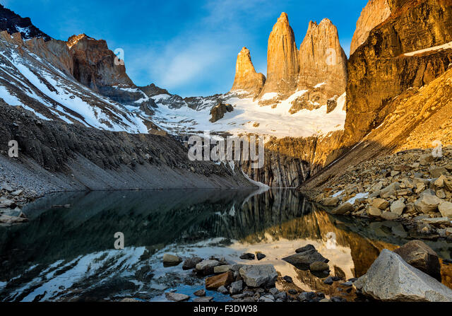 The Torres del Paine at sunrise - Stock Image