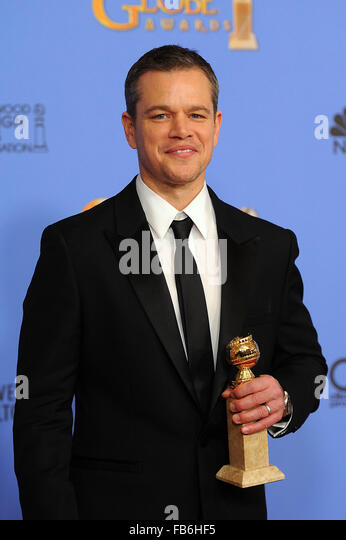 Beverly Hills, CA, USA. 10th Jan, 2016. Actor Matt Damon wins for Best Performance by an Actor in a Motion Picture - Stock Image