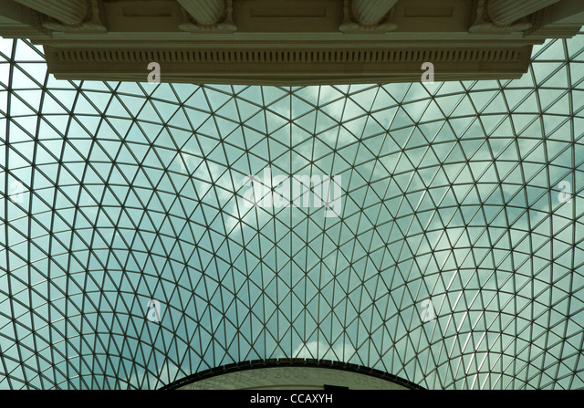 British Museum in London, detail of the dome - Stock Image