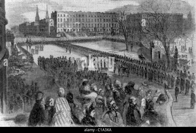 The Twentieth United States colored troops receiving their colors on Union Square, March 5, 1864 - Stock Image