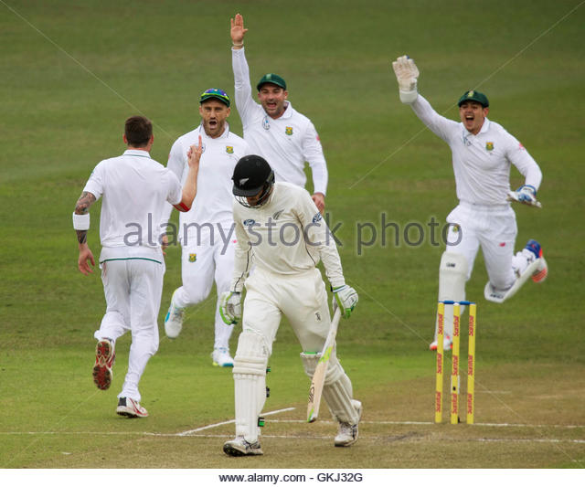 Members of South Africa celebrate the wicket of New Zealand's Martin Guptill during the second day of their - Stock-Bilder