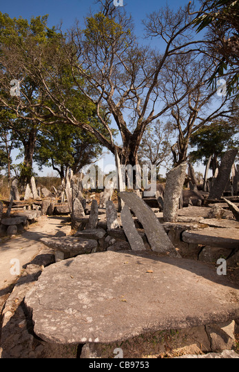 India, Meghalaya, Jaintia Hills, Shillong district, Nartiang Megaliths, stone monoliths remembering Jaintia rulers - Stock Image