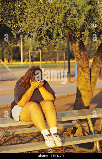 Depressed, Overweight Teen, - Stock Image