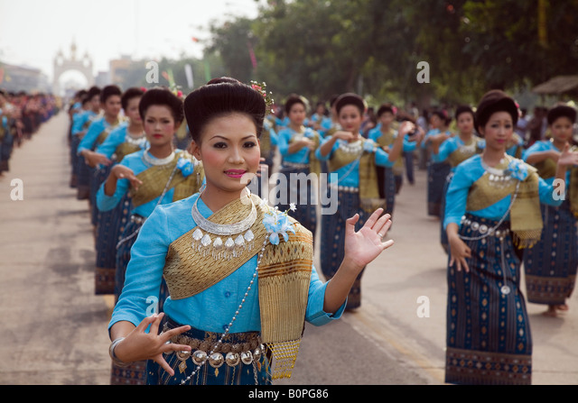 Ok Phansa festival - That Phanom, Nakhon Phanom province, Thailand - Stock Image