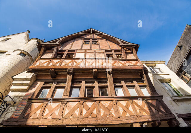 Exterior of 'La Maison Rouse' restaurant, Chinon, France. - Stock Image
